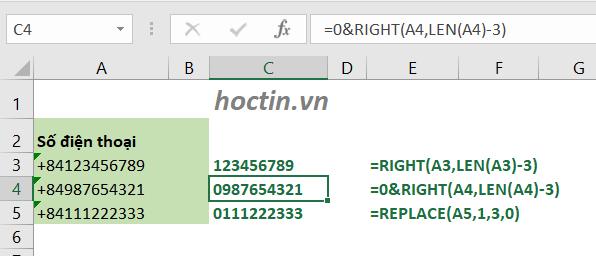 Cách Tách Số +84 Ở Đầu Dãy Số Trong Excel