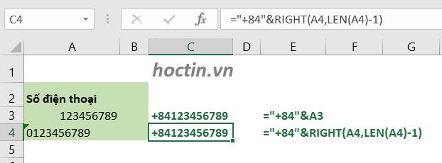 Cách Thêm (+84) Vào Đầu Số Điện Thoại Trong Excel Bằng Hàm Excel