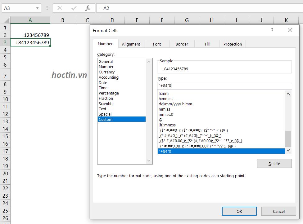 Cách Thêm +84 Vào Đầu Số Điện Thoại Trong Excel Bằng Cách Thay Đổi Định Dạng Ô