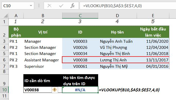 Lỗi #N/A trong hàm vlookup do giá trị tra cứu không nằm trong cột đầu tiên trong đối số table_array