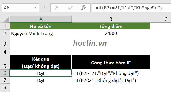 Với các câu lệnh điều kiện so sánh của hàm IF trong excel, có thể thay đổi chiều của biểu thức logic đồng thời đổi vị trí value_if_true và value_if_false