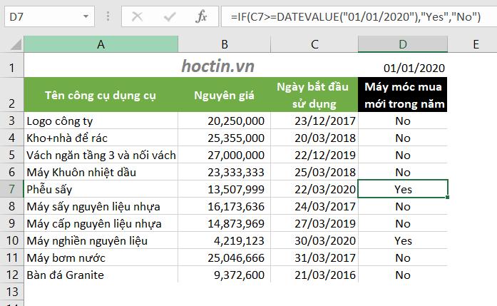 Hàm if trong excel kết hợp datevalue để so sánh ngày tháng