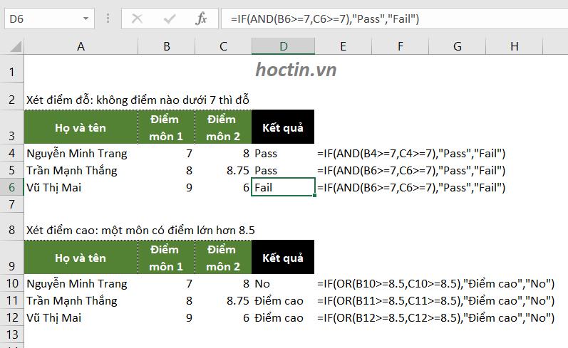 Sử dụng hàm IF trong Excel kết hợp với hàm AND và hàm OR để xét nhiều điều kiện khác nhau