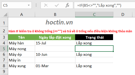 Sử Dụng Hàm IF Trong Excel Để Kiểm Tra Một Ô Có Trống Hay Không