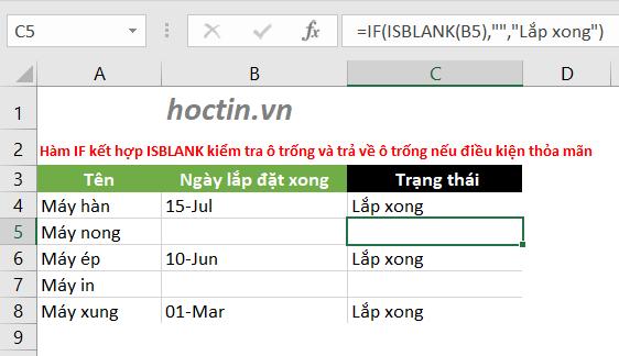 Sử Dụng Hàm IF Trong Excel Để Kiểm Tra Một Ô Có Trống Hay Không Với ISBLANK