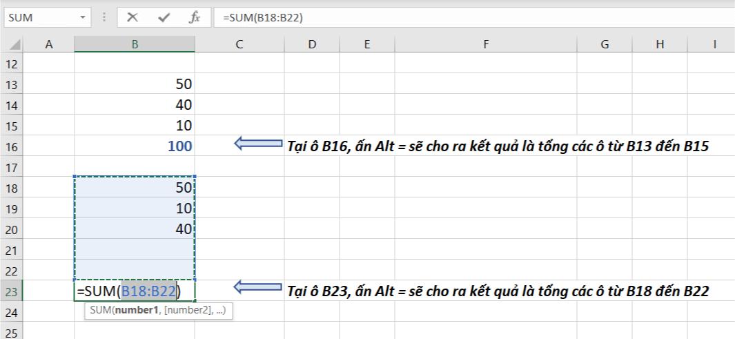 Cách tính tổng trong Excel sử dụng AUTOSUM tính tổng dãy số hoặc các ô liền mạch trong một cột trong Excel