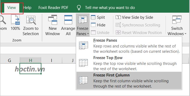 Cách Cố Định Cột Trong Excel