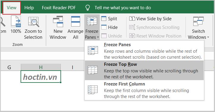 Cách Cố Định Dòng Trong Excel