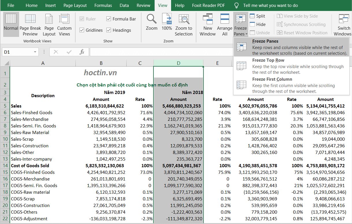 Tương tự cách đóng băng (Freeze) 1 cột, thay vì chọn cột tiêu đề, bạn có thể cố định nhiều cột trong Excel bằng Freeze Panes