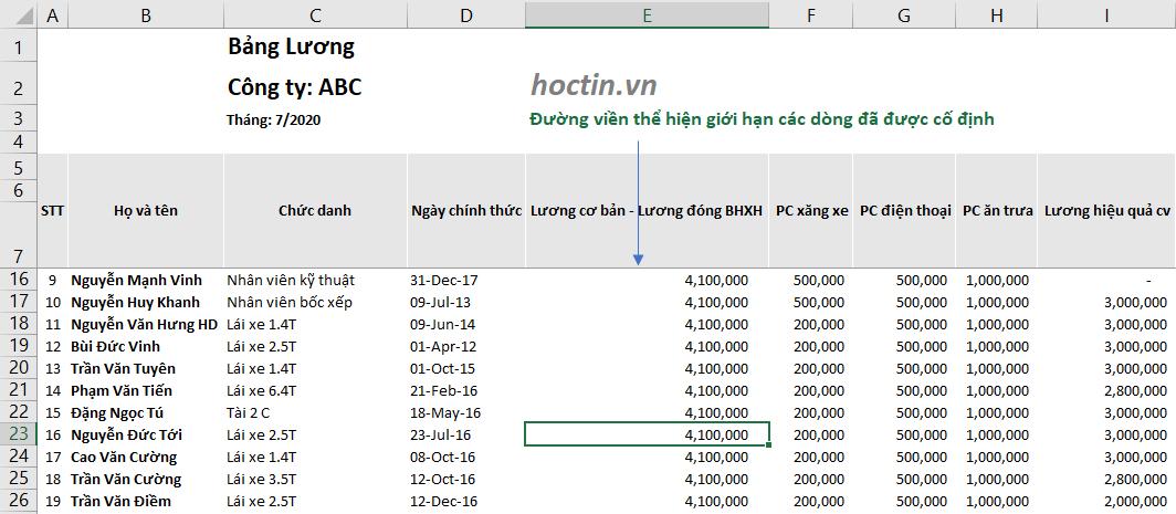 Cách Cố Định Nhiều Hàng Trong Excel Sử Dụng Freeze Panes