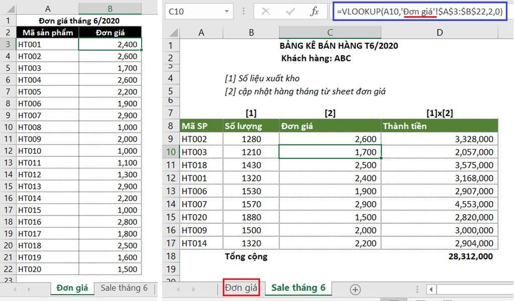 Dùng hàm VLOOKUP tìm dữ liệu trong nhiều sheet, trích xuất dữ liệu từ sheet này sang sheet khác
