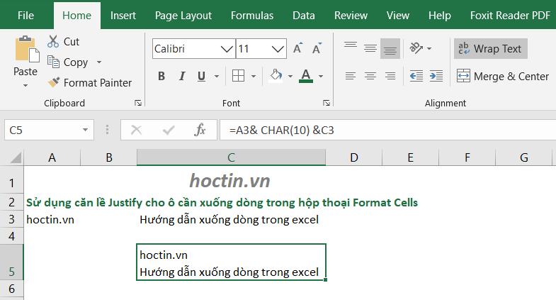 Ứng Dụng Hàm Xuống Dòng Trong Excel