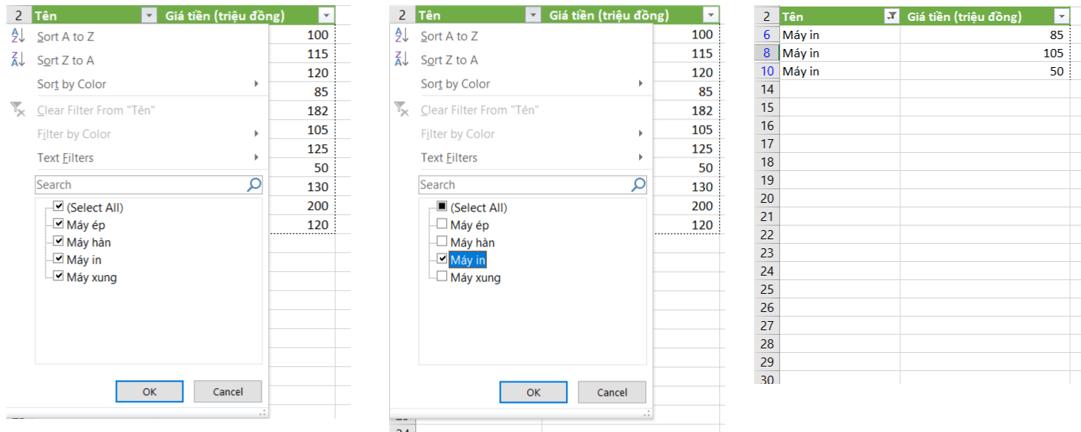 Lọc dữ liệu bằng Filter để tính tổng trong excel