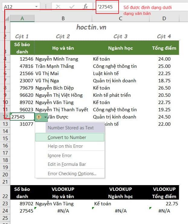 Lỗi N/A trong vlookup do Số được định dạng dưới dạng văn bản