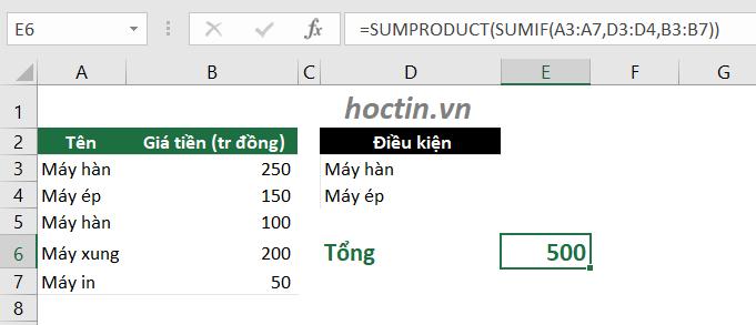 Sử Dụng Hàm SUMIF Trong Excel Rút Gọn Công Thức Tính Tổng Có Nhiều Điều Kiện Kết Hợp Hàm OR