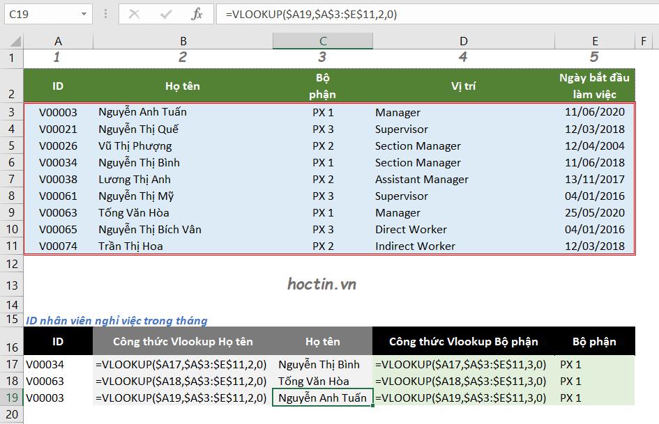 Sửa Lỗi N/A hàm vlookup do gặp lỗi khi viết hàm, không cố định vùng dữ liệu dò tìm trước khi copy công thức hàng loạt