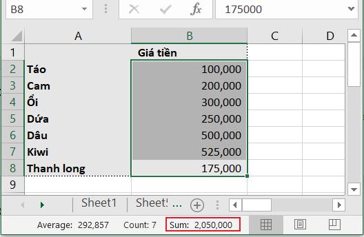 cách tính tổng trong excel nhanh nhất chỉ bằng một cú kéo chuột và xem kết quả tại thanh trạng thái Excel