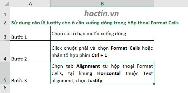 Cách Xuống Dòng Trong 1 Ô Excel Bằng Điều Chỉnh Hộp Thoại Format Cells