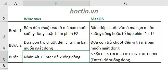 Cách Xuống Dòng Trong Ô Excel Bằng Alt + Enter