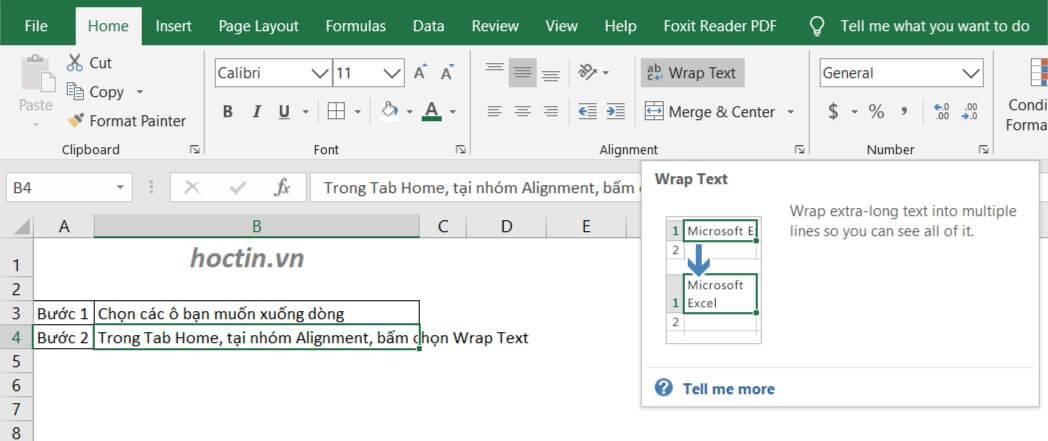 Cách Xuống dòng trong Excel bằng Wrap Text