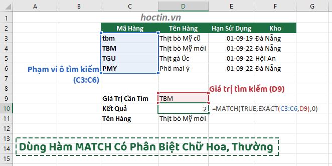 Bài Tập Hàm Match Trong Excel