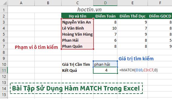 Bài Tập Dùng Hàm Match Trong Excel