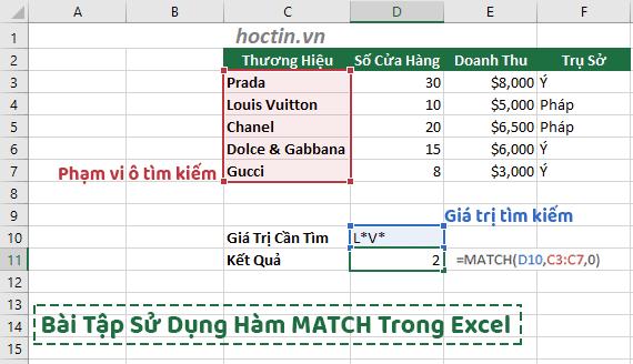 Bài Tập Sử Dụng Hàm Match Trong Excel