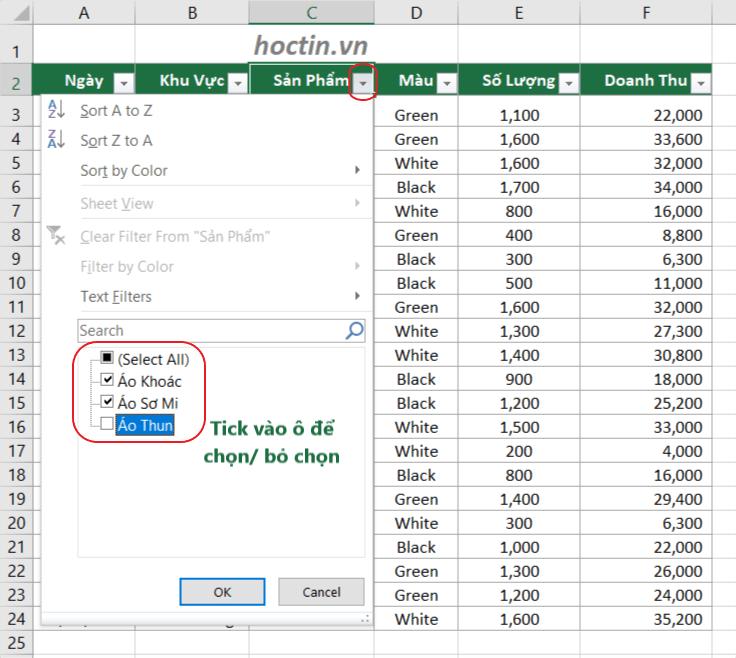 Cách lọc dữ liệu trong Excel hay được sử dụng nhất