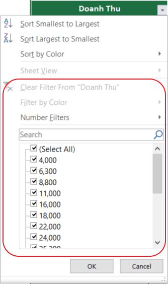 Cách filter trong excel- cách lọc dữ liệu trong excel