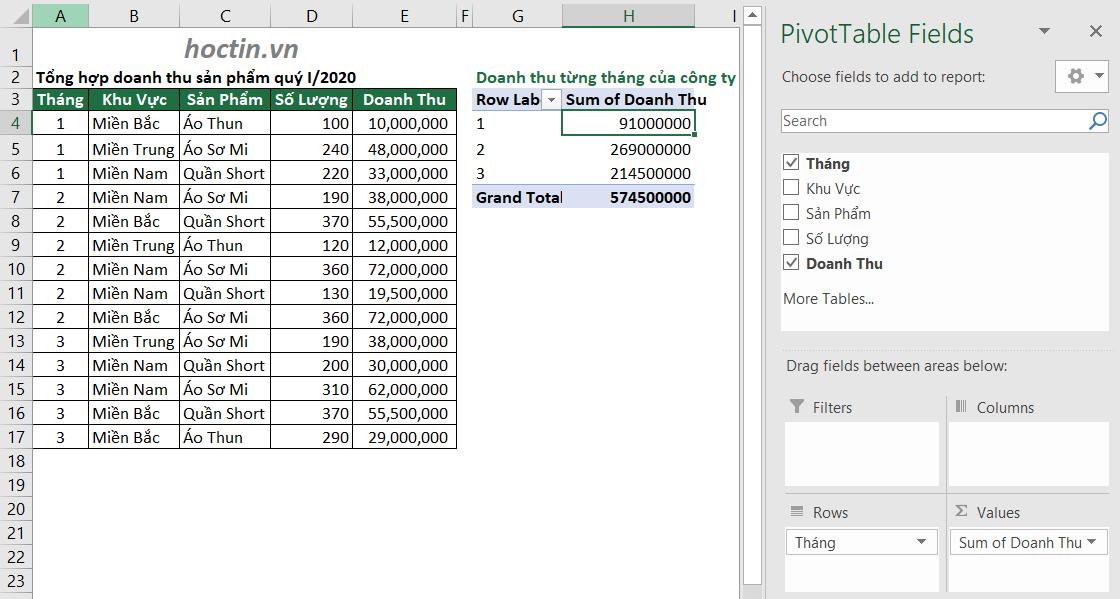 Cách Sử Dụng Pivot Table Nâng Cao Ứng Dụng Giải Bài Tập Excel Doanh thu từng tháng của công ty