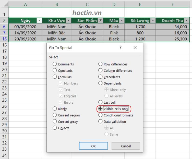 Cách Copy Trong Excel Bỏ Qua Các Cột Và Dòng Ẩn Visible cells only