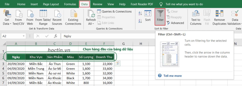 Cách Tạo Bộ Lọc Trong Excel Insert Filter để lọc dữ liệu