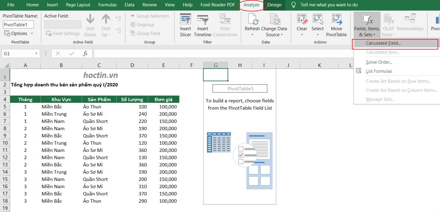 Sử Dụng Calculated Field Của Pivot Table Để Thêm Trường Tính Toán Mà Không Cần Dùng Cách Thêm Cột Trong Excel