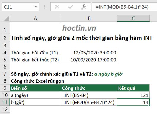 Sử Dụng Công Thức Lấy Phần Nguyên Trong Excel Để Quy Đổi Thời Gian Bằng Hàm INT