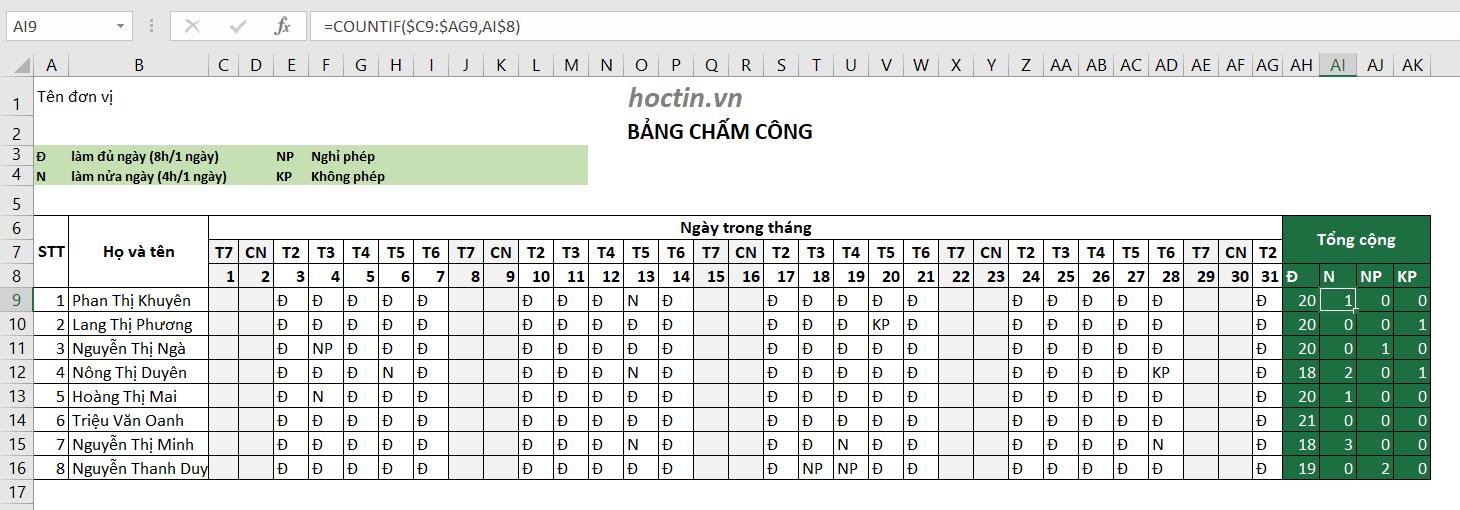Dùng Hàm COUNTIF Đếm Số Ngày Làm Việc Trên Bảng Chấm Công