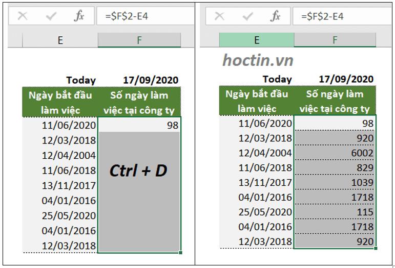 Cách sử dụng phím tắt copy công thức cho cả cột