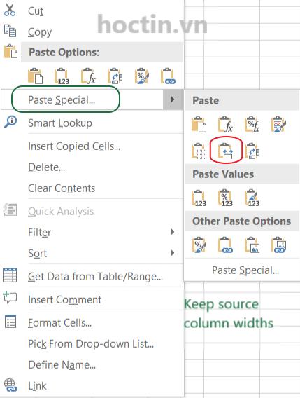 Cách Copy Giữ Nguyên Chiều Rộng Của Cột Trong Excel