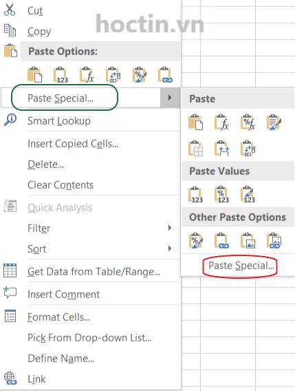 Cách mở hộp thoại Paste Special Để Copy Trong Excel