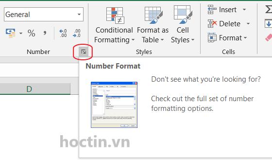 định dạng ngày tháng năm trong Excel bằng hộp thoại Format Cells sử dụng phím tắt Ctrl + 1