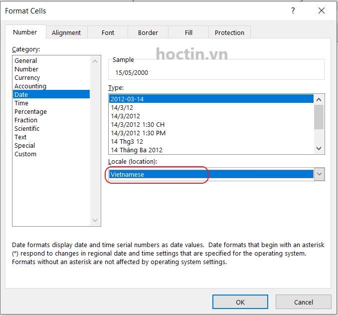 Cách định dạng ngày tháng năm trong Excel theo khu vực, chọn Locale (location)
