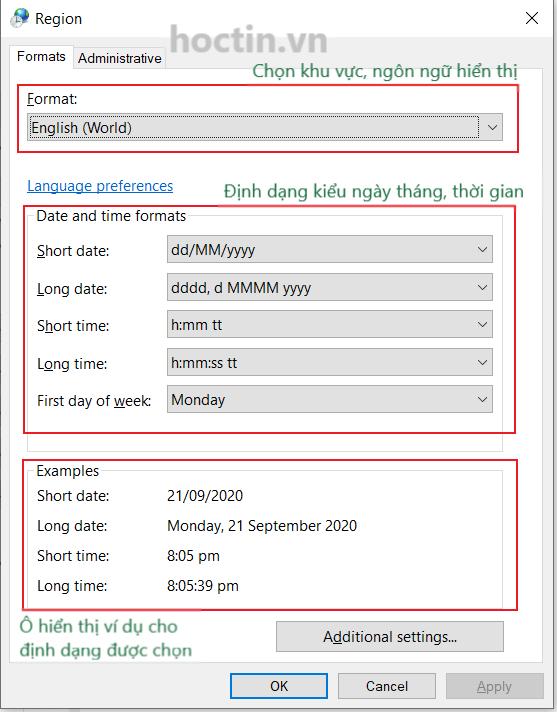 hộp thoại Region thay đổi định dạng ngày tháng trong excel và máy tính