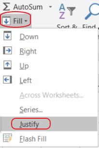 Sử Dụng Tính Năng Justify Để Gộp Hàng Trong Excel Gộp Ô Trong Excel Áp Dụng Với Dữ Liệu Trong 1 Cột