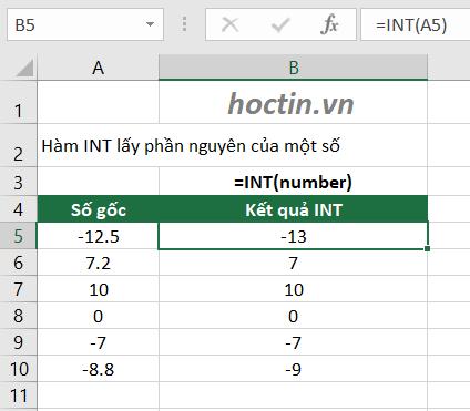 Hàm INT Lấy Phần Nguyên Trong Excel- Ứng Dụng Làm Tròn Số Thành Số Nguyên