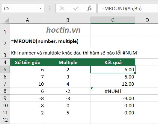 Cách Làm Tròn Trong Excel Với Hàm MROUND – Làm Tròn Đến Bội Số Của Một Số Tùy Chọn