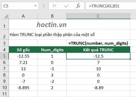 Cách làm tròn số trong Excel bằng hàm TRUNC