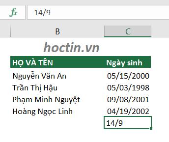 Định Dạng Ngày Tháng Trong Excel mm/dd/yyyy Tháng Trước Ngày Sau Cuối Cùng Là Năm