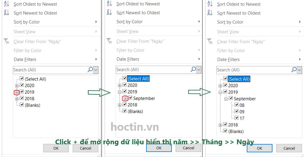 Cách Lọc Dữ Liệu Định Dạng Ngày Tháng Trong Excel: Excel mặc định hiển thị các giá trị là ngày tháng năm trong cửa sổ Filter dưới dạng danh sách mở rộng dần theo thứ tự năm >> tháng >> ngày