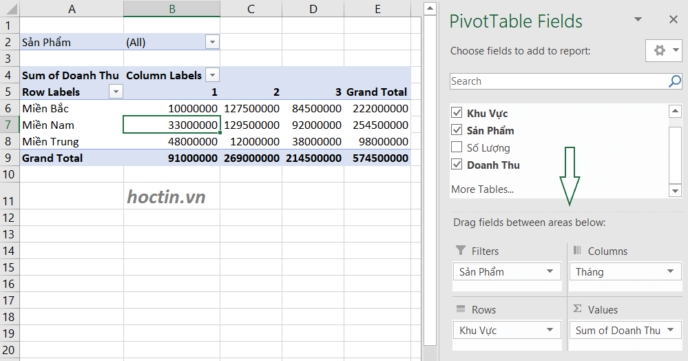 Sử Dụng Filters Trong PivotTable