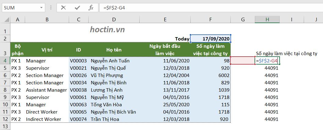 Kết quả sau khi thực hiện copy hàm trong Excel