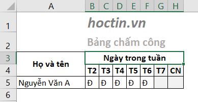 Kết quả sau khi gộp ô trong Excel, bảng chấm công trở nên dễ nhìn và gọn gàng hơn hẳn